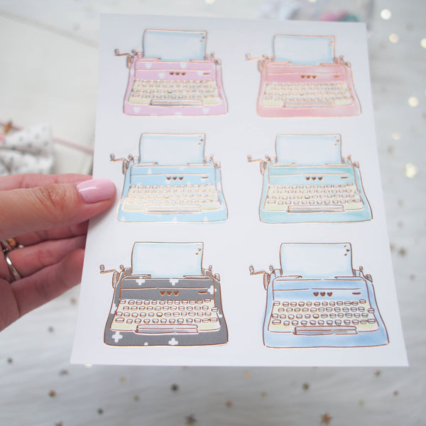 Foiled Stickers : Typewriter