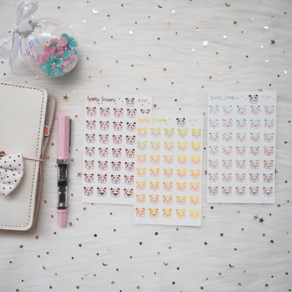 Planner Stickers : You Are Just My Type - Foiled Panda Macaron Date Dots (B230)
