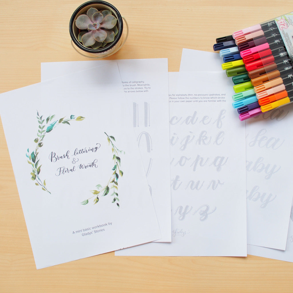 Digital Printable : Brush Lettering Work Sheet (By Gladys' Stories)