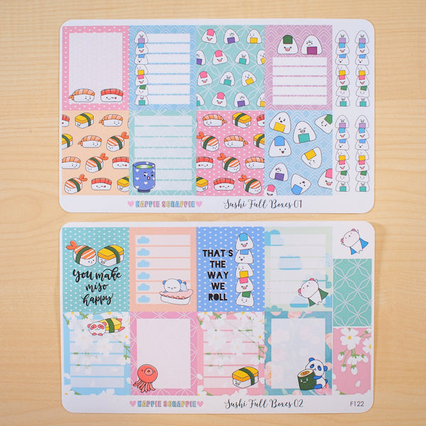 Planner Stickers : Full Box (Cute Sushi) F122 & F123