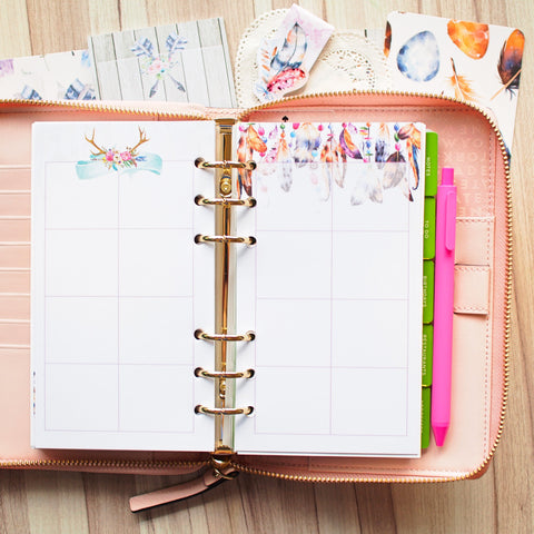 Inserts: Personal Sized Planner Inserts - Boho Chic (Boxes)