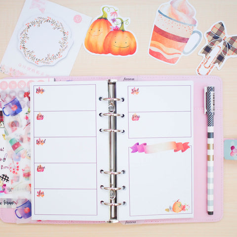 Personal (Rings) Planner Inserts - Fall In Love (Horizontal Weekly)