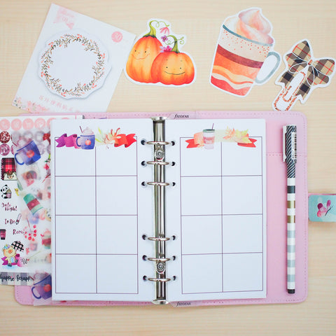 Personal (Rings) Planner Inserts - Fall In Love (Boxes)