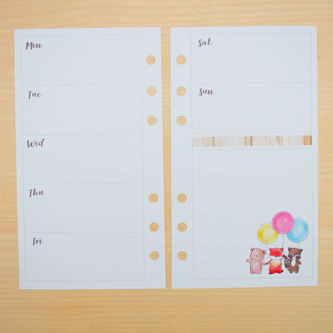Personal (Rings) Planner Inserts - Whimsical Forest (Horizontal Weekly)