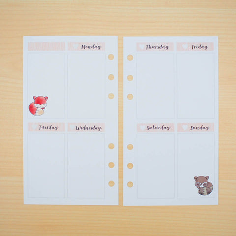 Personal (Rings) Planner Inserts - Whimsical Forest (Vertical Weekly)