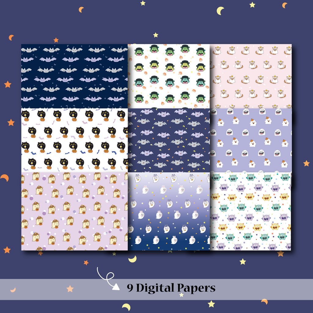 DIGITAL PAPERS - No Physical Product : Happie Halloween Themed Digital Papers