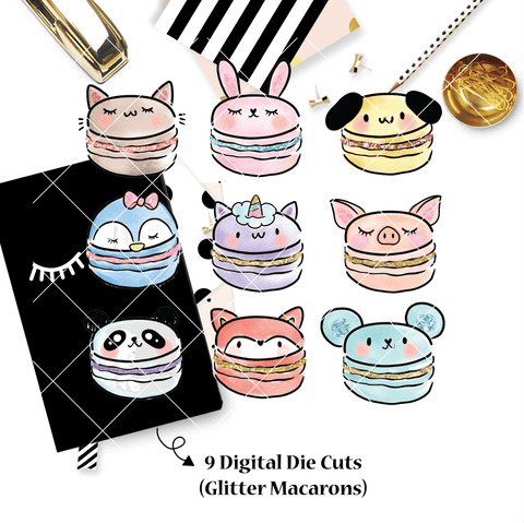 DIGITAL DOWNLOAD! - No Physical Product : You Are Just My Type Themed/ GLITTERED Animal Macarons