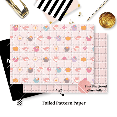 Pattern Papers : Pink Shattered Glass Foiled // Warm & Fuzzy (Set of 4)