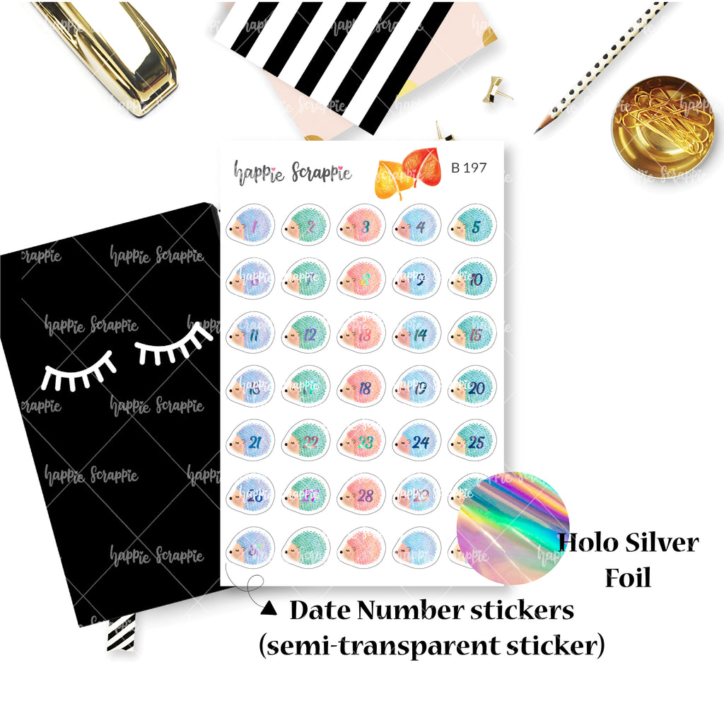 Planner Stickers : Sweater Weather - Holo Silver Foiled Hedgehog Date Dots (B197)