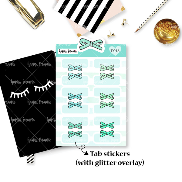Tab Stickers : Alice Bows (Single Color) - Glitterfied!