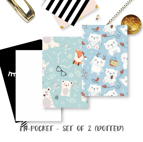 Travel Notebook Inserts (TN-Pocket) - Winter Bear (Dotted - Set of 2) [TPO-009]