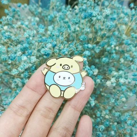 Pins : Cutie Patootie // Teal Piggie //  Magnetic Backing