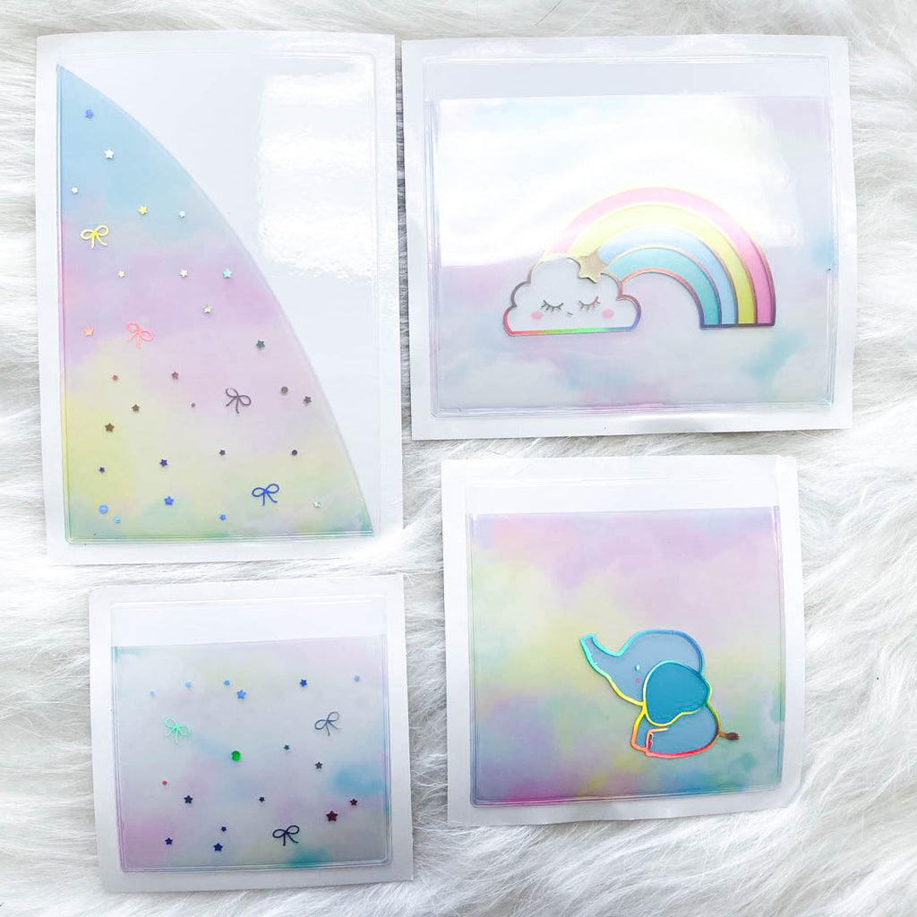 Stickie Pockets : Rainbow //Holo Silver Foil (Set of 4)