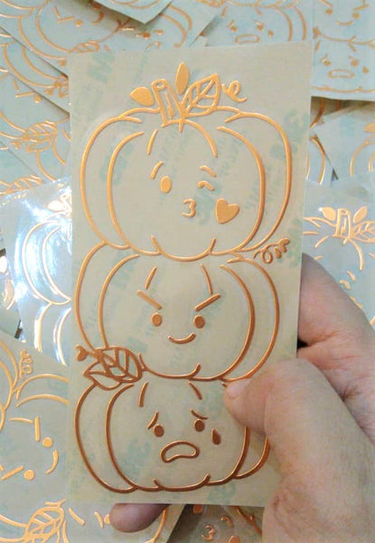 Metal Decal Sticker  : Warm & Fuzzy // Stacked Pumpkins