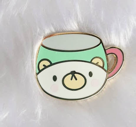 Pins : Bear Cup //  Magnetic Backing
