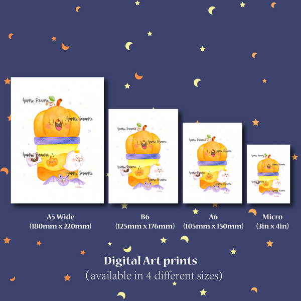 DIGITAL DOWNLOAD! - No Physical Product : Happie Halloween Themed Digital Art Print