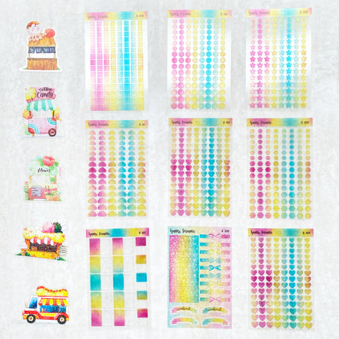Planner Stickers : Foodie's Delight  // Semi-Transparent Tiny Rainbow Stickers