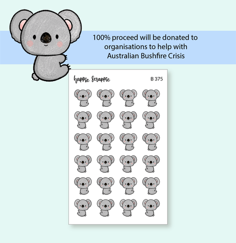 Planner Stickers : Peeking Koala (B375)  // 100% Proceeds Donated