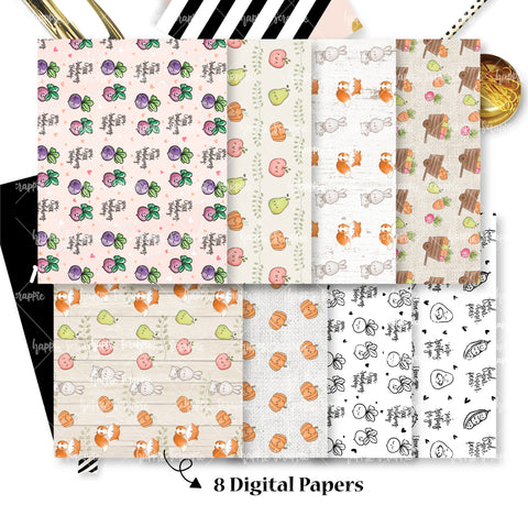 DIGITAL PAPERS - No Physical Product : Farmers Market Themed Digital Papers