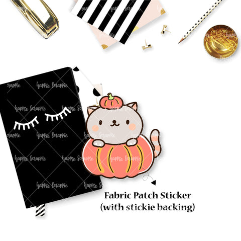 Fabric Patch : Sweater Weather / Pumpkin Kitty