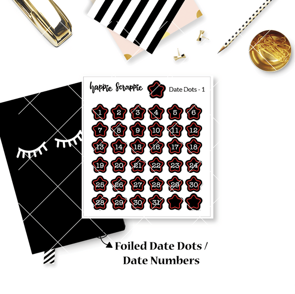Mini Stickers : Date Numbers / Date Dots 1 (Stars)