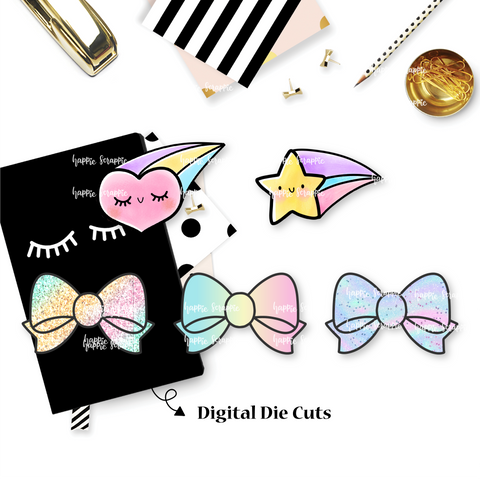 DIGITAL DOWNLOAD! - No Physical Product : Pastel Bows, Heart & Star