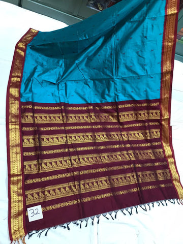 Paithani Silk / Cotton Gadwal Model Saree With Contrast Blouse