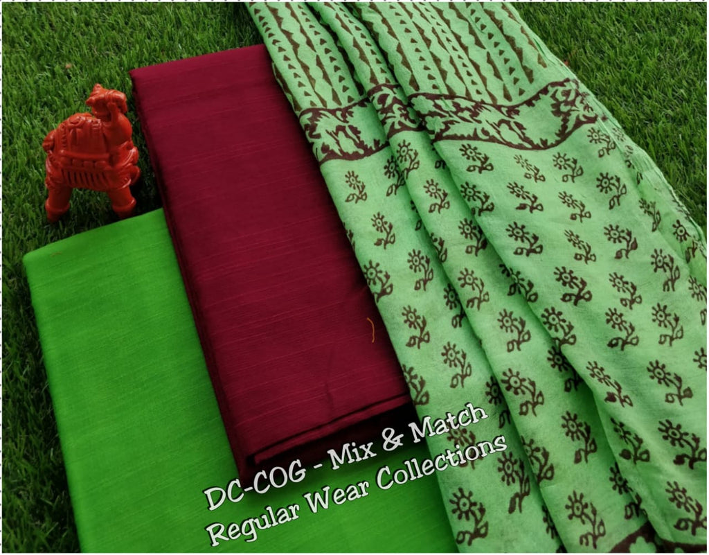 Dupion Self Design Cotton Dress Material With Printed Cotton Dupatta