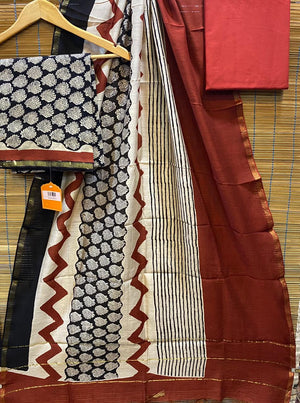 Chanderi Silk Hand Block Printed Dress Material