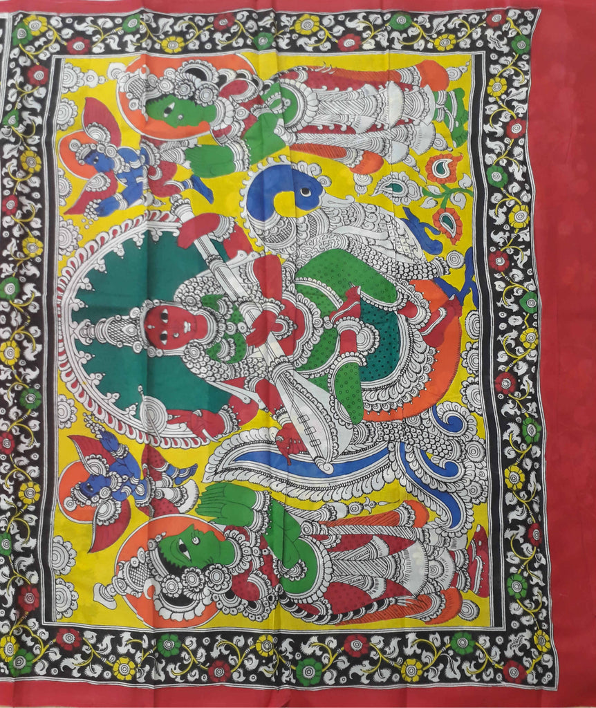 Handloom Pen Kalamkari Hand Painted Cotton Saree