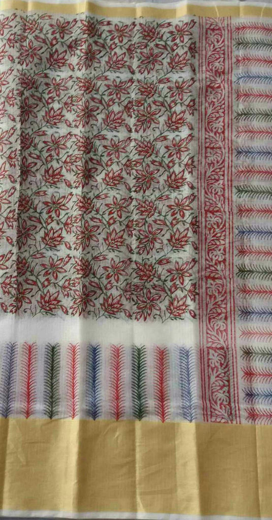 Handloom Kota Hand Block Printed Art Silk/Cotton Saree