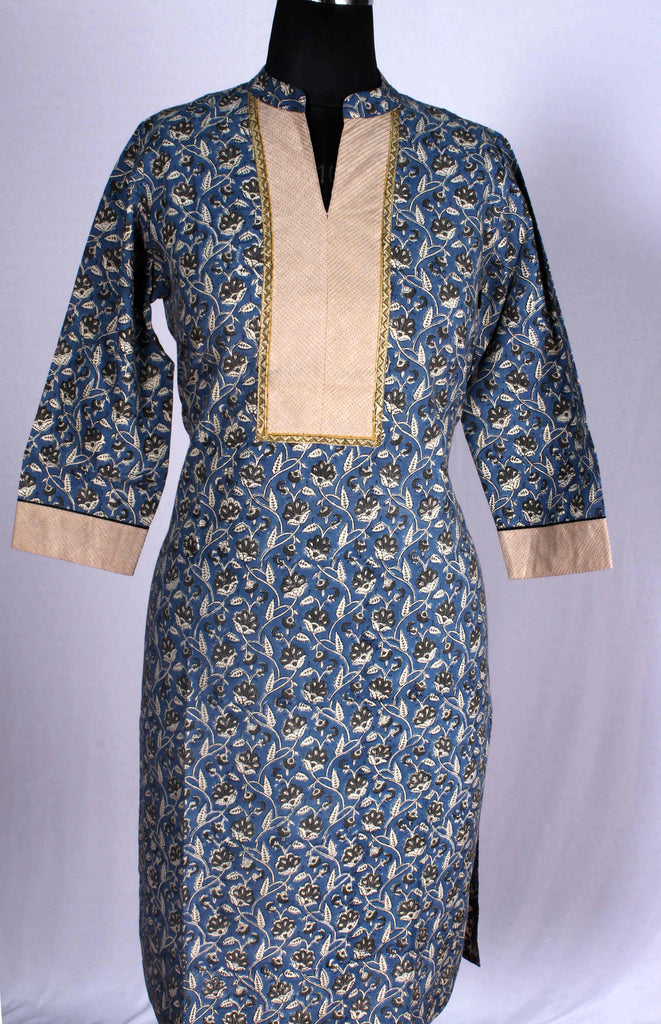 Handloom KALAMKARI COTTON STITCHED KURTI