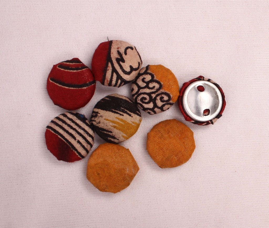 Handloom Handmade Big Fabric Buttons (Set Of 8)