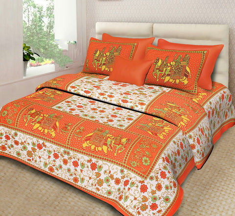 Jaipur Printed Cotton Bed Sheet With Pillow Covers(King Size)