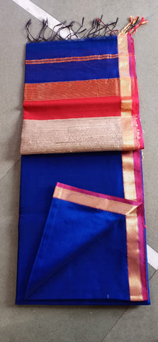Maheshwari Silk / Cotton Small Zari Border And Jute Pallu Saree
