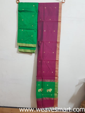 Handloom CHANDERI SILK COTTON  DRESS MATERIAL WITH DUPATTA (Kurti)