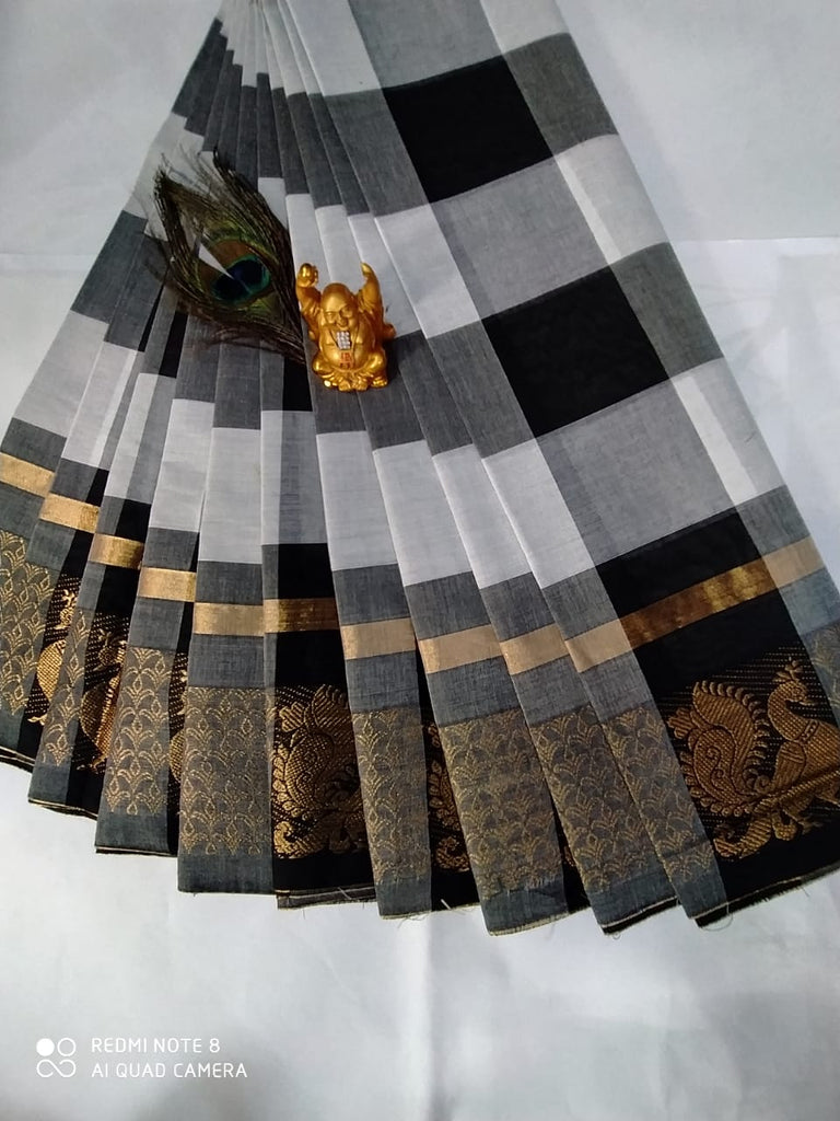 Chettinadu Cotton Checks Design Saree Without Blouse ( 80 Count )
