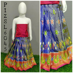 Pochampally Handloom Ikat Silk Lehenga(0-3Years)