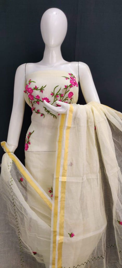 Kota Art Silk / Cotton Embroidery Work Dress Material Without Bottom