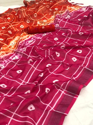 Linen Bandhani Printed Saree With Contrast Blouse