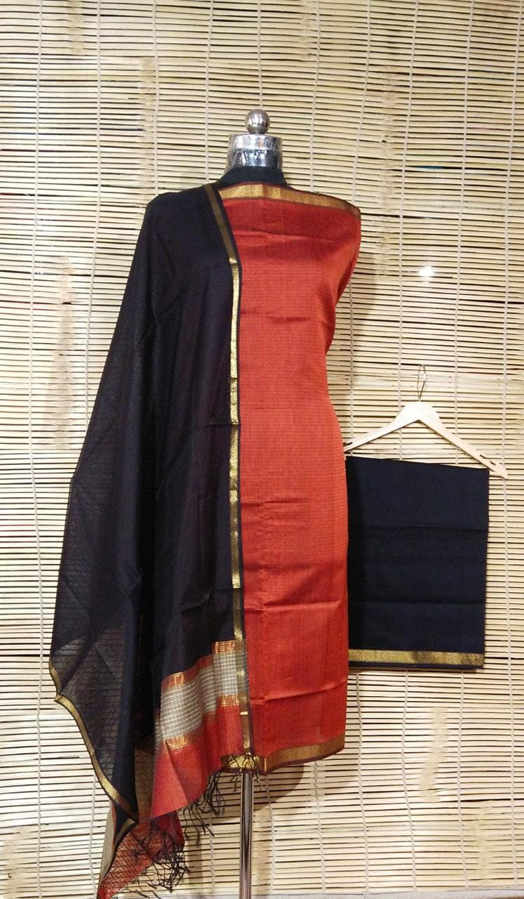 Maheshwari Handloom Silk / Cotton Dress Material