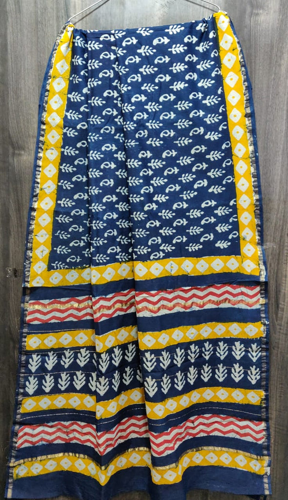 Chanderi Hand Block Printed Silk Saree