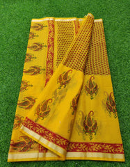 Kota Hand Block Printed Silk / Cotton Saree