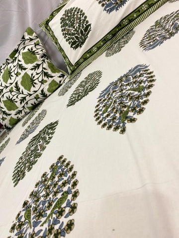 Cotton Hand Block Printed Double Bed Sheet With Two Pillow Covers
