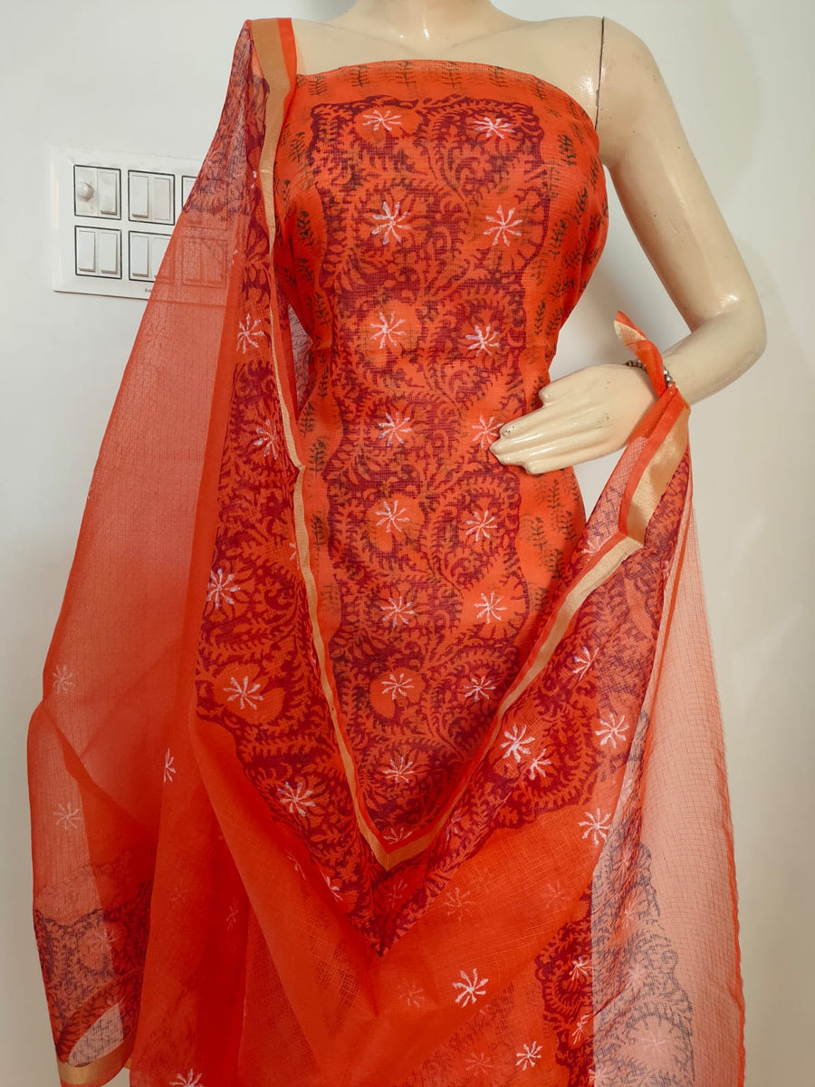 Kota Silk / Cotton Hand Block Printed Dress Material Without Bottom