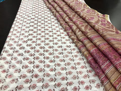 Hand Block Printed Chanderi Silk / Cotton Dress Material