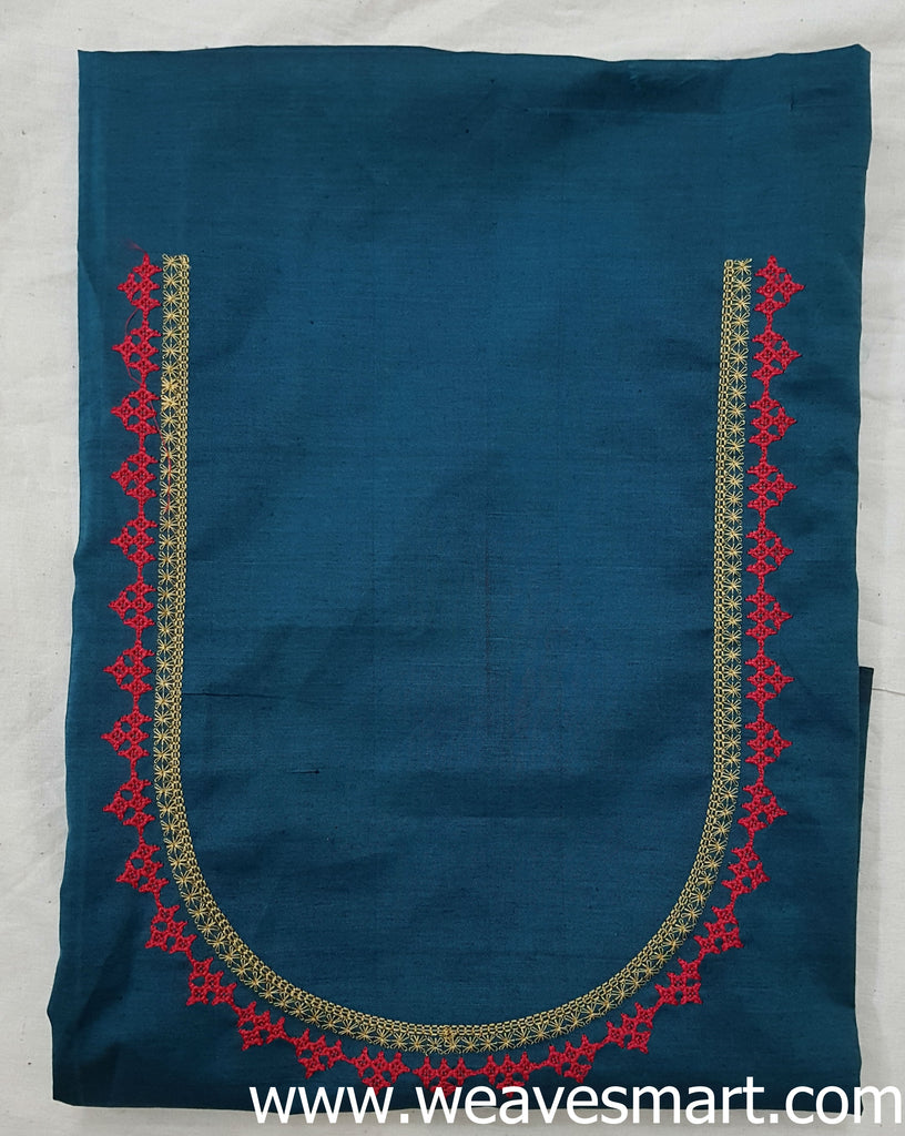 Handloom Embroidered Cotton Blouse Material