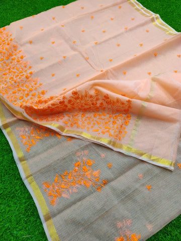 Kota Art Silk / Cotton Embroidery Work Saree With Running Blouse