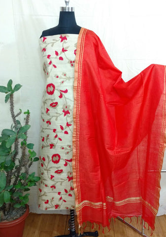 BAGALPUR COTTON DRESS MATERIAL WITH BAGALPUR  SILK DUPATTA(2Pcs) - WUK01365