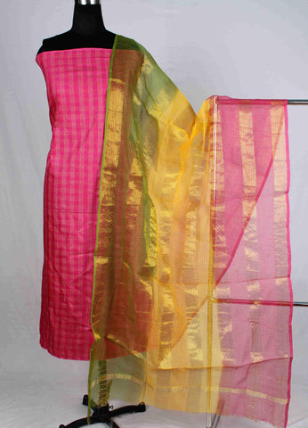 Bhagalpur Silk Dress Material With Kota Dupatta - wuk02314